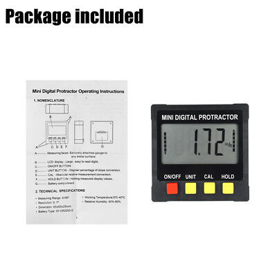 Digital Inclinometer Spirit Level Box Protractor Angle Finder Gauge Meter US 8