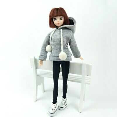 """Gray Sweatshirt Coat For 11.5"""" Doll Clothes Outfits Pants Canvas Shoes 1/6 Toy 2"""