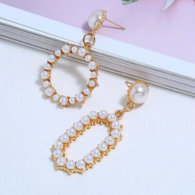 Geometric Irregular Circle Baroque Pearl Earrings Metal Gold Drop Dangle Earring 8