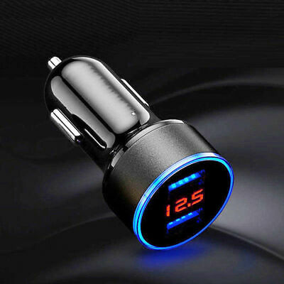 Dual Ports 3.1A USB Car Cigarette Charger Lighter Digital LED Voltmeter 12V/24V 6