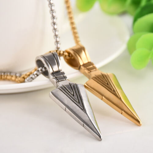 Men's Fashion Jewelry Gold Silver Arrow Head Pendant Long Chain Necklace Gift 4