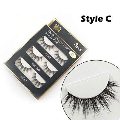 AU Stock 12 Pairs 3D Natural Long Thick Makeup Eyelashes Cross False Eye Lashes 4
