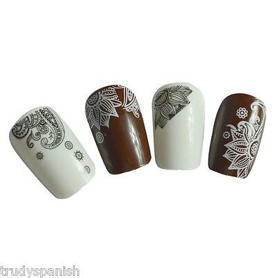 Nail Art Water Transfers Stickers Decals White Black Flowers Lace