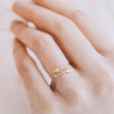 Magníficas mujeres anillos de oro plata ajustable flecha abierta anillo nudillo 6