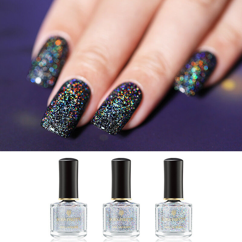BORN PRETTY 6ml Sequined Holographic Top Coat Nail Polish Glitter Clear 11