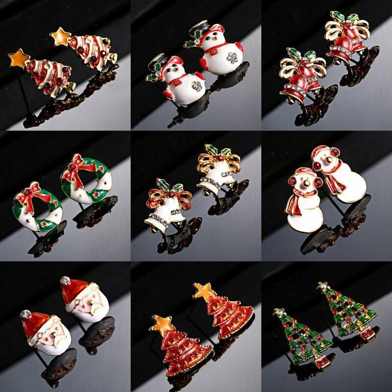 Fashion Women Christmas Earrings Enamel Crystal Drop Dangle Ear Stud Ear Hook 6