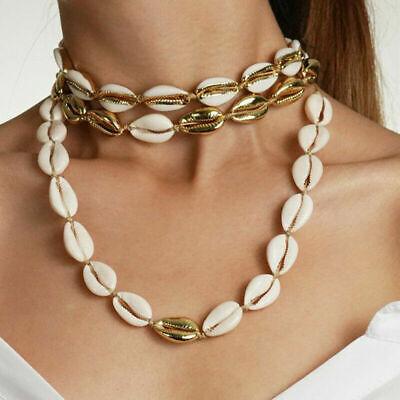 Boho Bohemian Sea Shell Beaded Pendant Chain Choker Necklace Women Beach Jewelry 6