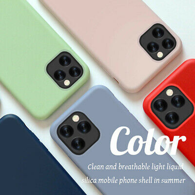 For iPhone 11 Pro Max XS XR 8 7 6s Plus Liquid Silicone Simple Color Case Cover 2
