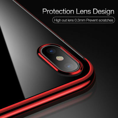 For iPhone X 8 7 6S Plus Case Electroplate Silicone Ultra Slim Clear Soft Cover 7