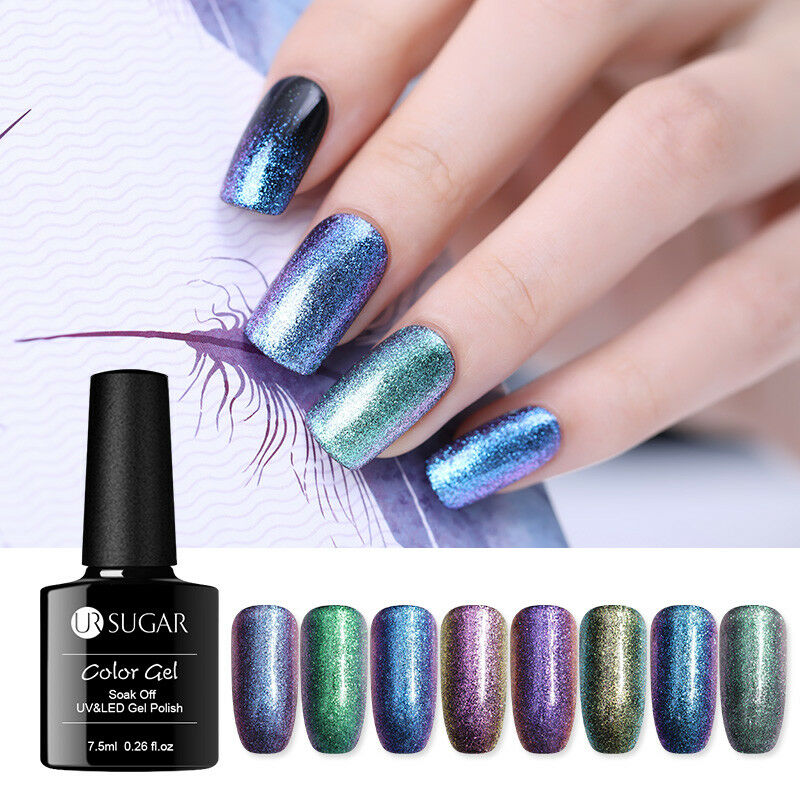 7.5ml UR SUGAR  Glitter Soak Off UV Gel Polish Nail Art Chameleon Varnish 4