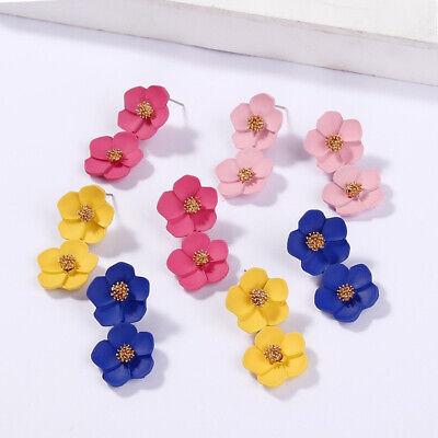 Fashion Crystal Women Flower Drop Dangle Earrings Ear Stud Jewelry Double Layer 2