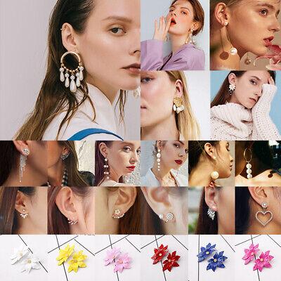 New Women Pearl Crystal Geometric Statement Drop Dangle Earrings Wedding Jewelry 5