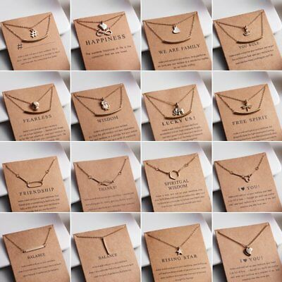Fashion Women Animal Heart Necklace Charms Pendant Clavicle Chain Jewelry Card 9