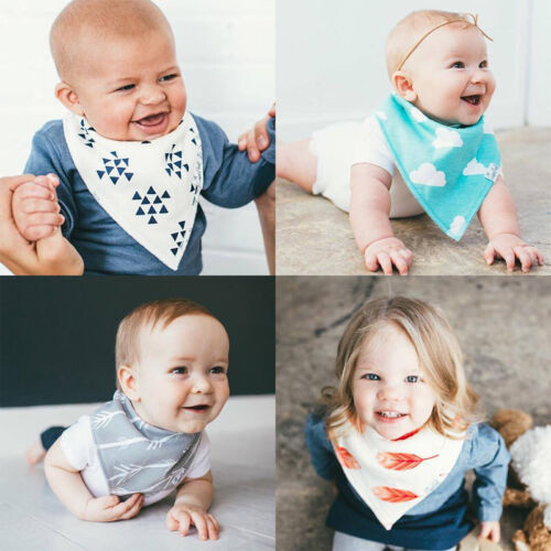 4Pcs Infant Baby Kids Burp Feeding Bibs Saliva Towel Dribble Triangle Bandana 4