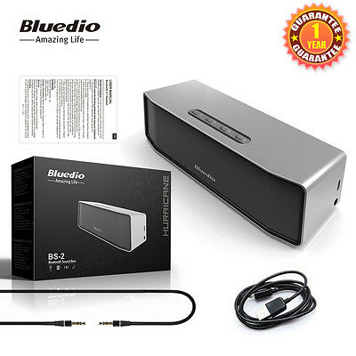 NEW BLUEDIO BS-2 Wireless Speakers Bluetooth 4.1 Portable Stereo Soundbar Woofer 2