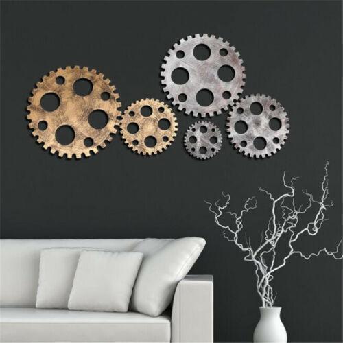 Wooden Hanging Gear Wall Art Industrial Antique Vintage Home Bar Cafe Pu