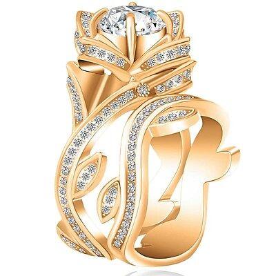 Fashion Women 925 Silver ,Gold Lotus Flower White Topaz Ring Set Wedding Jewelry 6