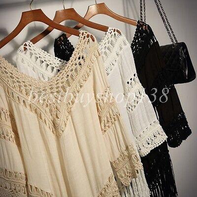 4b6d6bbd5a5a3a ... Womens Crochet FRINGE Top V-Neck 3/4 Sleeve Bohemian Boho Shirt Tunic  Plus
