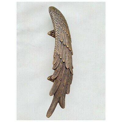 2 ANGEL cast heavy WINGS hollow soild brass door pull old style natural aged 10