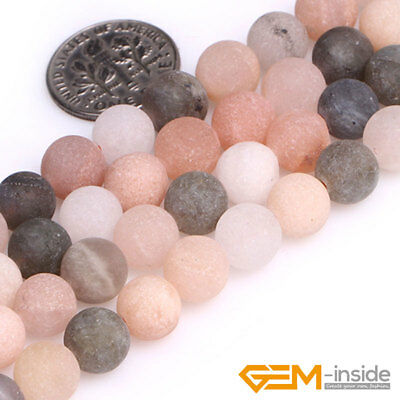 Natural Matte Frosted Gems Round Loose Unpolished Stone Jewelry Making Beads 15""