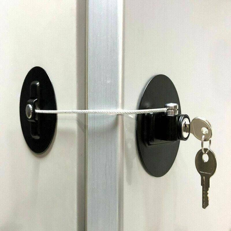 Child Safety Lock Window Kids Securitys Refrigerator Door Lock Limit with-Key US 2