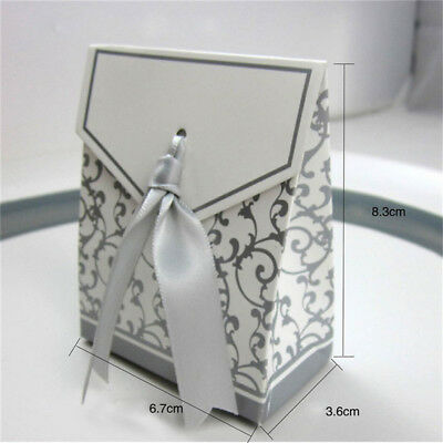 50/100pcs Wedding Favour Candy Boxes Bags With Ribbon Sweet Cake Gift Party Favo 4