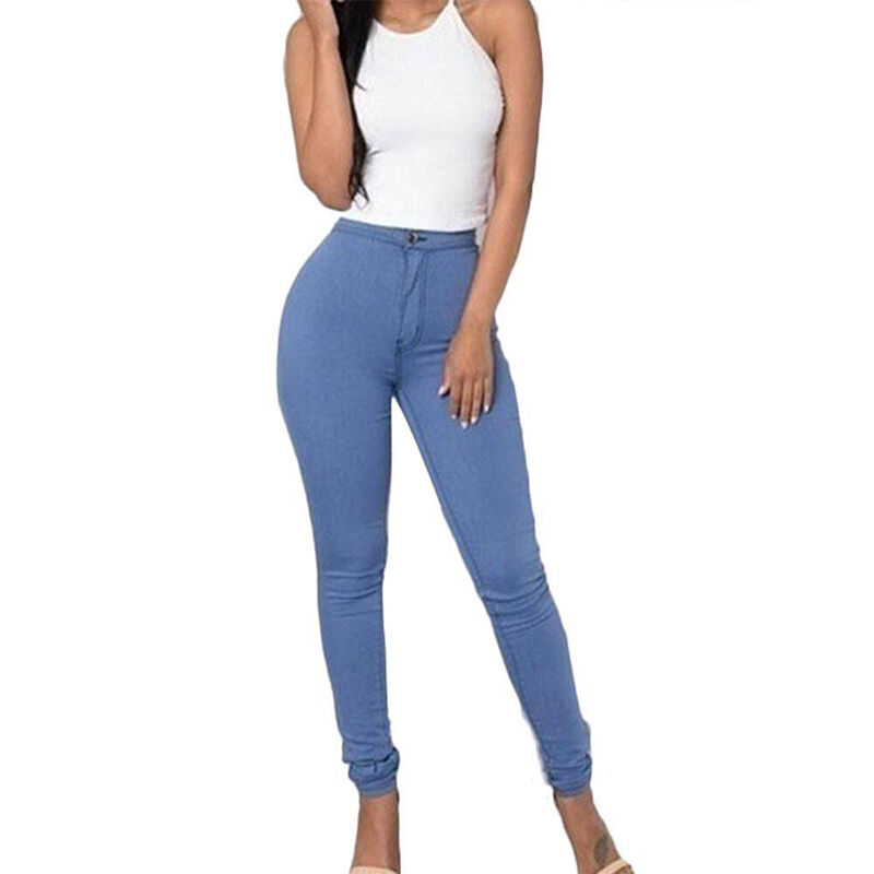 Women Stretch Pencil Pants High Waist Skinny Jeggings Jeans Casual Slim Trousers 5