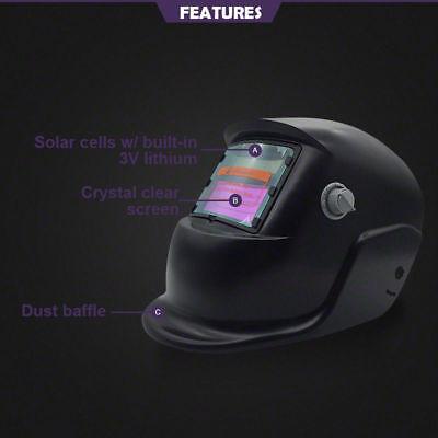 Pro Solar Auto Darkening Welding Helmet Arc Tig Glossy Black Mask 3