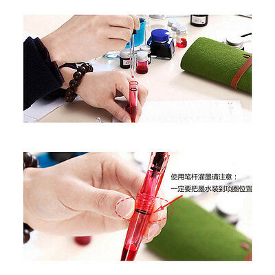 2018 SKB F12 Blue Transparent China Fountain Pen Screw Cap Fine F Nib 0.5mm #JK