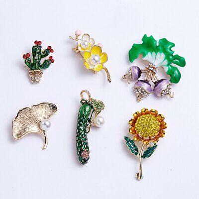 Fashion Rhinestone Crystal Flower Plant Bridal Bouquet Enamel Brooch Pin Jewelry 9