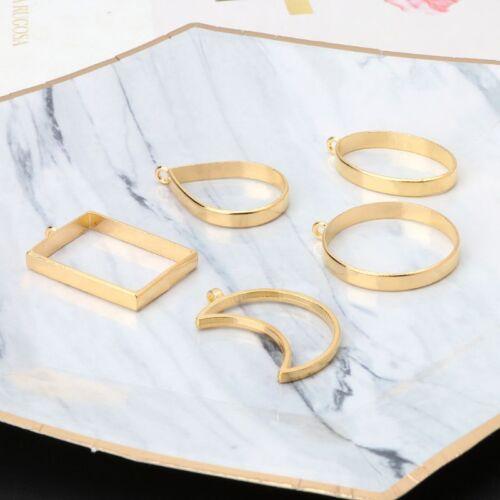 10Pcs Geometric Hollow Pressed Flower Resin Blank Frames Pendants Jewelry Making 10