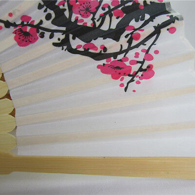 Unqiue Chinese Folding Hand Fan Japanese Cherry Blossom Design Silk Costume BHCA