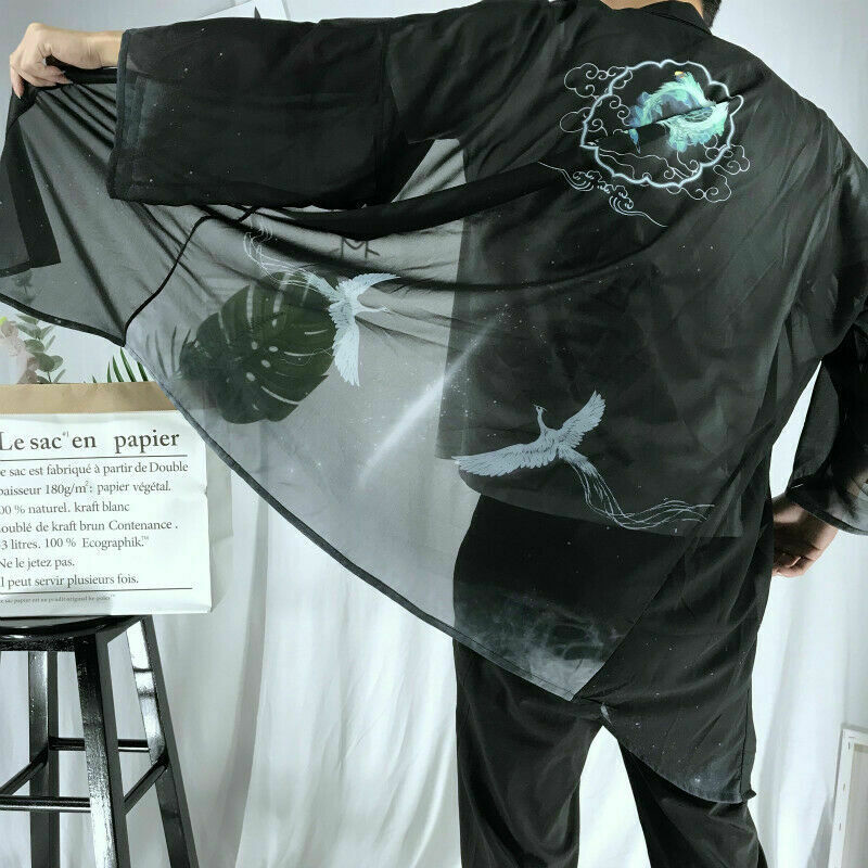 HERREN DAMEN JAPANISCHE Kimono Durchsichtig Strickjacke