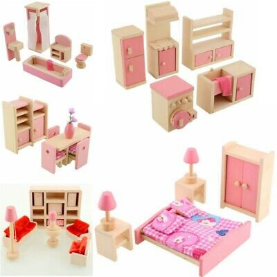 Kid's Children Wooden Furniture Dolls Family House Miniature 6 Room Set Doll Toy 2