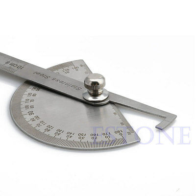 New Stainless Steel 180 degree Protractor Angle Finder Arm Measuring Ruler Tool 7