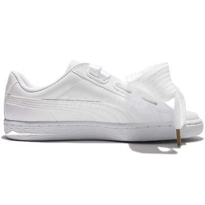 95b4bdf8eb0 ... Puma Basket Heart Patent Wns Leather White Women Shoes Sneakers  363073-02 3