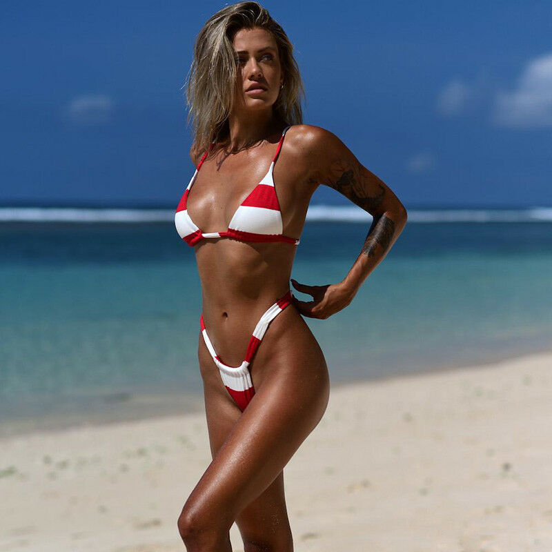 Womens Striped Bra Bikini Set Push Up Padded Sexy G Strings Swimwear Swimsuit XL 7
