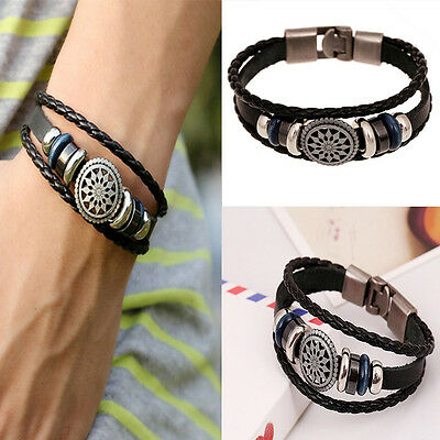 Unisex Women Men Cool Punk Metal Studded Trendy Wristband Leather Bracelet 6