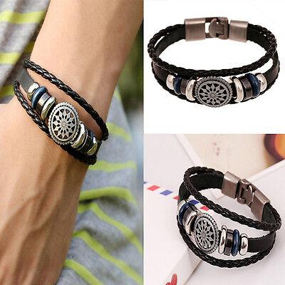 Unisex Women Men Fashion Wristband Leather Bracelet Cool Punk Metal Studded 4