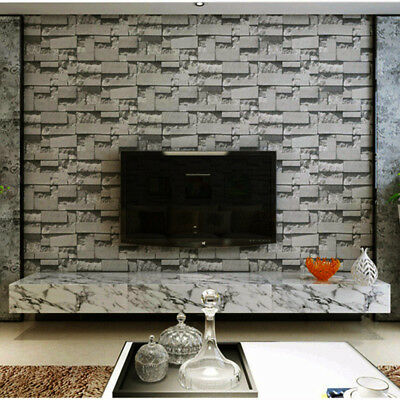 Modern Stacked 3d Stone Wallpaper Roll Grey Charcoal Brick