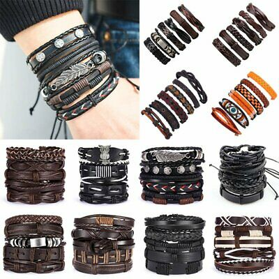 6pcs/set Multilayer Leather Bracelet Handmade Men Women Wristband Bangle Gifts 2