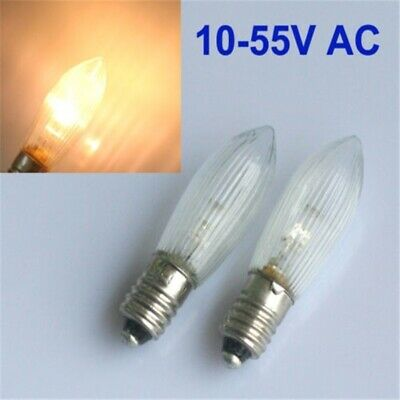100x LED E10 Topkerzen Riffelkerzen Spitzkerzen Ersatz Lichterkette 0,2W 10-55V 5