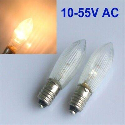 30Stk LED 0,2W E10 10-55V Topkerzen Riffelkerzen Spitzkerzen Ersatz Lichterkette 3