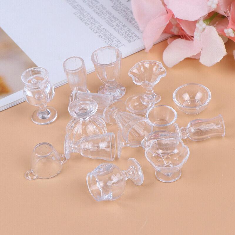 17Pcs/Set 1:12 Dollhouse Miniature Transparent Tableware DIY Kitchenware Toys 6
