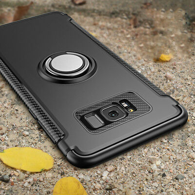 For Samsung Galaxy S9 S8 Plus S7 Edge Magnetic Car Holder Ring Stand Case Cover