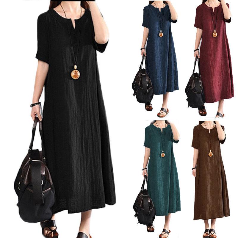 Plus Women Summer Baggy Cotton Linen Casual Loose Long Maxi Dress Boho Kaftan UK 9