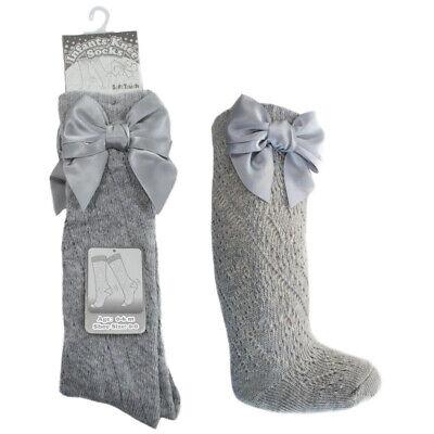 Baby Girls BOW Pellerine Socks Knee High white Grey Pink 3