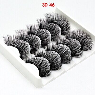 UK 5 Pairs 3D Fake Eyelashes Long Thick Natural False Eye Lashes Set Mink Makeup 4
