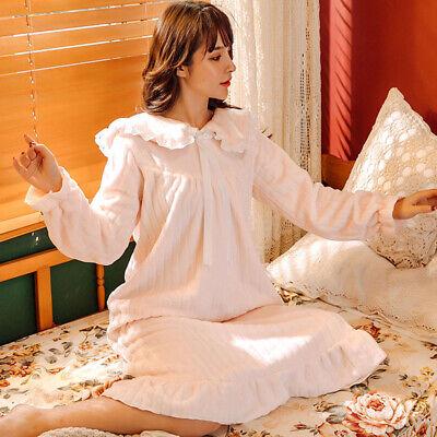 Lady Girls Corel Fleece Nightdress Long Sleeve Nightgown Sleepwear Lolita Sweet 6