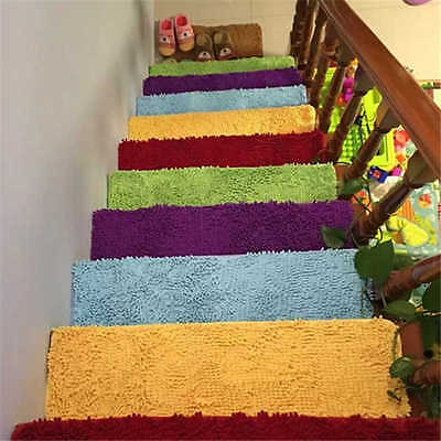 Incroyable 7 Of 10 Fluffy Stair Treads Carpet Rug Non Slip Stair Mat Matt Step Indoor  Washable New